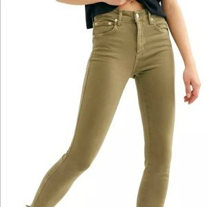 Free People Ankle Jeggings Army Green Size 24 NWT